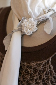 White rose silk scarflette
