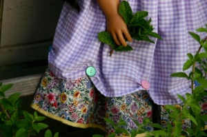 """Katherine"" My Twinn doll dress and apron hem detail"