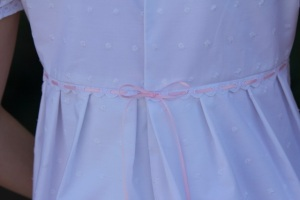 white regency dress waist detail