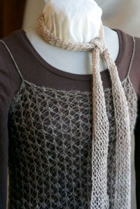 Hand knit lace can be simple, like this scarf made with only YO and K2tog